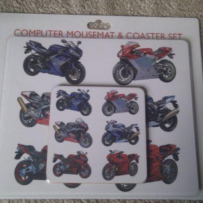 Computer Mouse Mat & Coaster Set Bikes